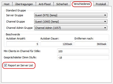 Teamspeak Server in Serverliste anzeigen