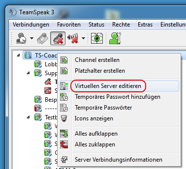 Teamspeak Virtuellen Server editieren